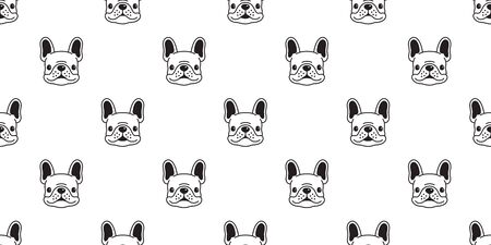 Dog seamless pattern vector french bulldog tile background scarf isolated wallpaper illustration cartoon