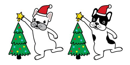 dog vector Christmas tree french bulldog Santa Claus hat Xmas star icon puppy cartoon character illustration