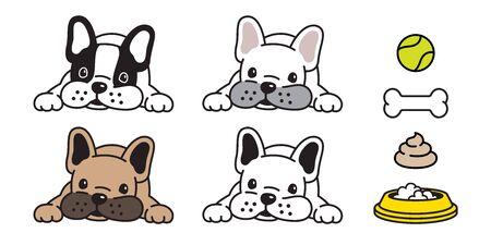 dog vector french bulldog icon bone ball bowl poo character cartoon illustration symbol doodle 일러스트