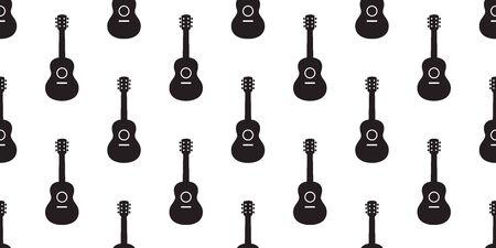 guitar seamless pattern vector bass ukulele music scarf isolated cartoon illustration repeat wallpaper tile background Illustration