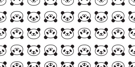 bear panda seamless pattern vector polar bear teddy scarf isolated tile background cartoon repeat wallpaper doodle illustration