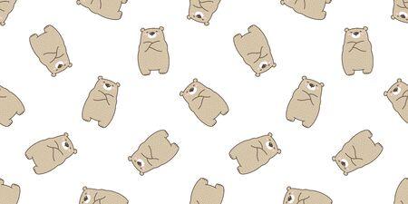 Bear seamless pattern polar bear vector cartoon illustration tile background wallpaper scarf isolated