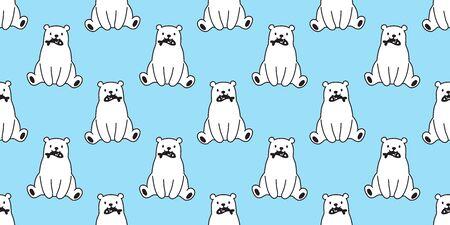 bear seamless pattern polar bear vector panda teddy isolated background repeat wallpaper doodle cartoon blue