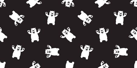bear seamless pattern polar bear vector scarf isolated panda teddy cartoon illustration background repeat wallpaper black