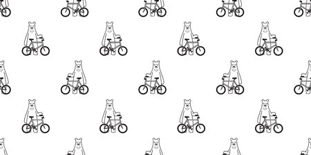 Bear seamless pattern vector polar bear bicycle riding cycling cartoon scarf isolated illustration tile background repeat wallpaper 일러스트