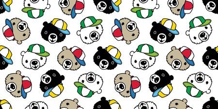 Bear seamless pattern vector polar bear cap hat cartoon scarf isolated tile background repeat wallpaper illustration