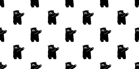 Bear seamless pattern vector polar bear dab dancing cartoon scarf isolated repeat wallpaper tile background illustration