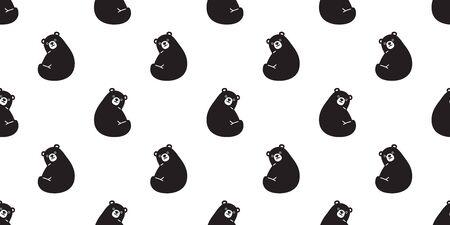 Bear seamless pattern vector polar Bear tile background scarf isolated repeat wallpaper illustration