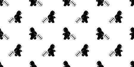 Bear seamless pattern vector travel bag traveller polar bear cartoon scarf isolated tile background repeat wallpaper illustration