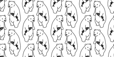 bear seamless pattern polar bear vector fish salmon scarf isolated repeat wallpaper tile background