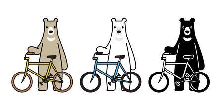 Bear vector polar bear bicycle riding cycling cartoon character icon isolated illustration