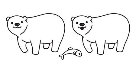 bear vector polar bear icon illustration salmon fish character cartoon doodle