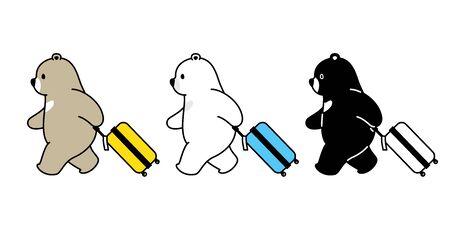 Bear vector polar bear travel bag traveller air port cartoon character icon isolated illustration 일러스트