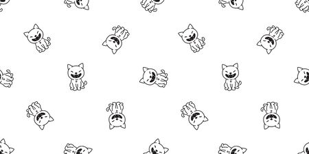 cat seamless pattern vector kitten calico paw scarf background wallpaper isolated