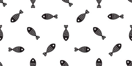 fish seamless pattern vector salmon shark fin dolphin whale ocean sea background repeat isolated wallpaper