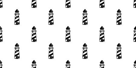 lighthouse Seamless Pattern vector Anchor helm maritime Nautical tropical boat isolated background wallpaper