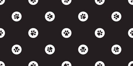paw seamless pattern dog paw vector french bulldog bone polka dot isolated wallpaper background Ilustração