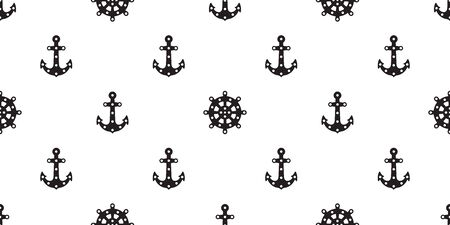 Anchor seamless pattern vector boat helm isolated scarf Nautical maritime polka dot ocean sea repeat wallpaper tile background Çizim