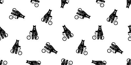 Bear seamless pattern vector polar bear bicycle riding cycling cartoon scarf isolated illustration repeat wallpaper tile background