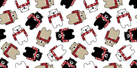 Bear seamless pattern vector polar bear Christmas tree scarf Santa Claus Xmas cartoon isolated tile background repeat wallpaper illustration