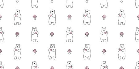Bear seamless pattern vector polar bear heart valentine mushroom cartoon illustration tile background wallpaper scarf isolated 일러스트