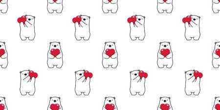 Bear seamless pattern vector polar bear heart valentine scarf hug cartoon isolated illustration repeat wallpaper tile background
