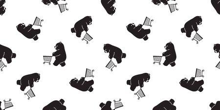 Bear seamless pattern vector polar bear shopping cart bag scarf isolated cartoon illustration repeat wallpaper tile background doodle