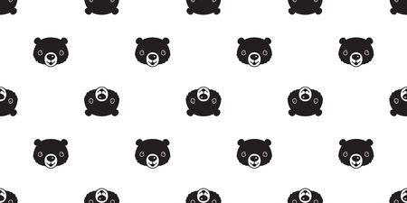 Bear seamless pattern vector polar bear smile cartoon illustration tile background repeat wallpaper scarf isolated