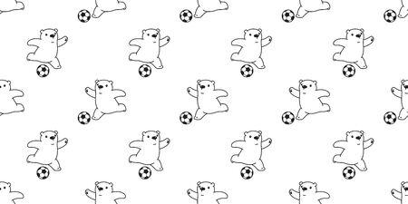 Bear seamless pattern vector polar Bear soccer football cartoon scarf isolated tile background repeat wallpaper illustration white Stock Illustratie