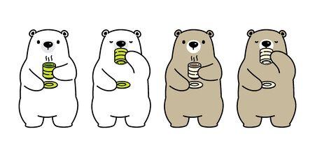 Bear vector polar bear tea coffee drink cartoon character icon isolated illustration