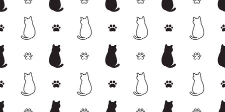 cat Seamless pattern vector paw kitten calico cartoon scarf isolated halloween tile background repeat wallpaper illustration doodle