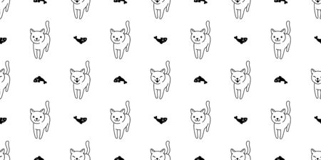 cat Seamless pattern vector salmon fish kitten calico cartoon scarf isolated tile background doodle illustration repeat wallpaper white