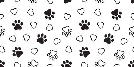 Dog Paw seamless pattern heart vector french bulldog valentine footprint cartoon tile background scarf isolated repeat wallpaper illustration gift wrap