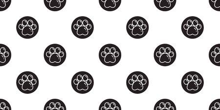 Dog Paw seamless pattern vector footprint polka dot french bulldog cartoon tile background repeat wallpaper scarf isolated illustration cartoon Ilustração