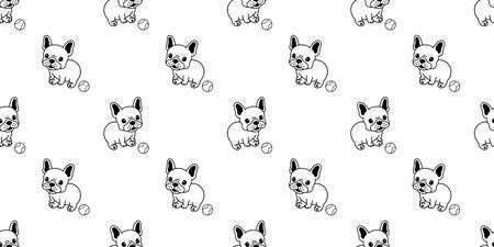 Dog seamless pattern vector french bulldog baseball repeat background tile cartoon wallpaper isolated