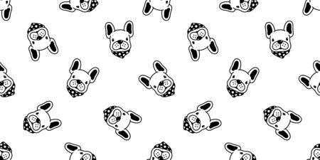 dog seamless pattern vector french bulldog polka dot scarf cartoon character illustration repeat wallpaper tile background 일러스트
