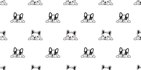 dog seamless pattern vector french bulldog scarf isolated repeat wallpaper tile background illustration doodle