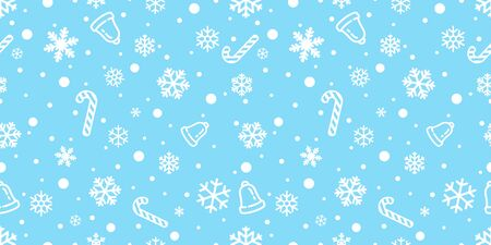 Snowflake seamless pattern vector Christmas snow Xmas Santa Claus candy cane bell scarf isolated repeat wallpaper tile background illustration gift wrapping paper Иллюстрация