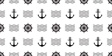 anchor Seamless Pattern vector helm boat pirate nautical maritime wave tropical summer beach ocean tile background scarf isolated repeat wallpaper