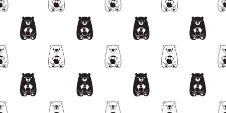 Bear seamless pattern vector polar bear ball balloon cartoon teddy scarf isolated repeat wallpaper tile background illustration