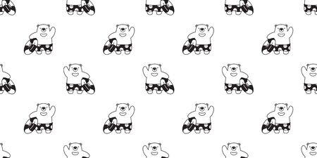 Bear seamless pattern vector polar bear beach swimming ring pool summer scarf isolated cartoon illustration repeat wallpaper tile background