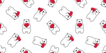 Bear seamless pattern vector polar bear heart valentine hug cartoon scarf isolated illustration repeat wallpaper tile background