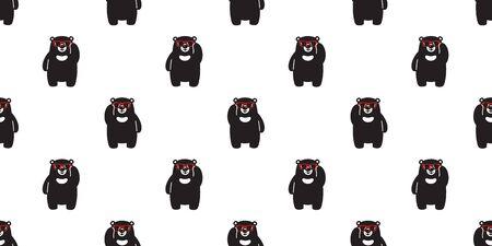 Bear seamless pattern vector polar bear sunglasses cartoon scarf isolated illustration repeat wallpaper tile background 일러스트