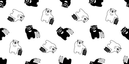 Bear seamless pattern vector sunglasses travel bag traveller polar bear cartoon scarf isolated repeat wallpaper tile background illustration 일러스트