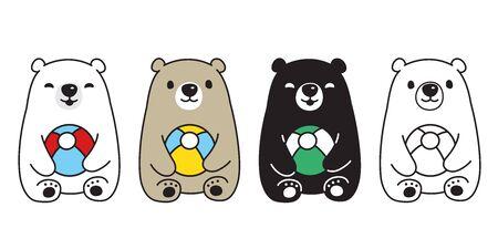 Bear vector polar bear ball balloon toy sitting cartoon character icon illustration