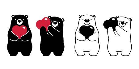 Bear vector polar bear heart valentine hug love cartoon character icon isolated illustration black