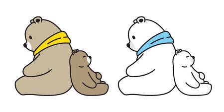Bear vector polar bear sitting sleeping cartoon character icon illustration Ilustrace