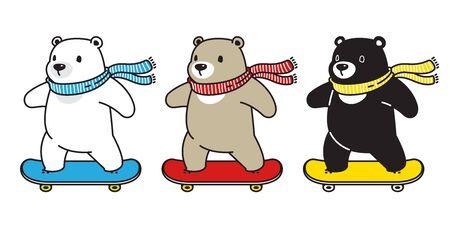 Bear vector polar bear skateboard skating scarf cartoon character icon illustration doodle 일러스트