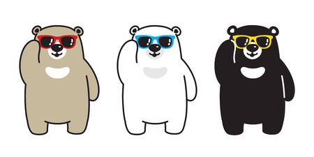 Bear vector polar bear sunglasses cartoon character icon illustration doodle