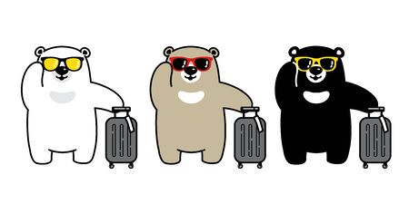 Bear vector polar bear sunglasses travel bag traveller air port cartoon character icon isolated illustration